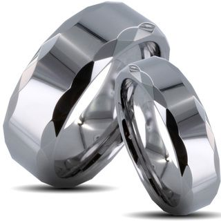 Tungsten Carbide Polished Prism edged His and Her Wedding Band Set Men's Rings