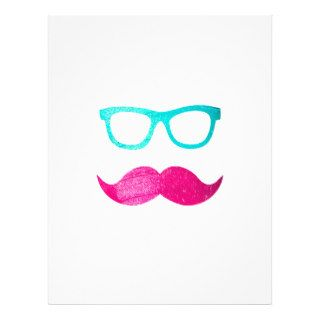 Funny Neon Pink mustache teal hipster cool glasses Personalized Flyer
