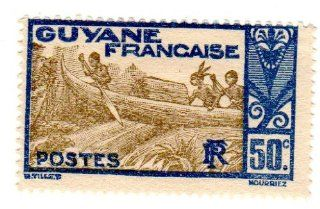 Postage Stamps French Guiana. One Single 50c Dark Blue & Olive Gray Shooting Rapids Maroni River Stamp, Dated 1929 40, Scott #124.
