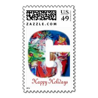 CHRISTMAS G LETTER / SANTA WITH CHRISTMAS MONOGRAM STAMPS