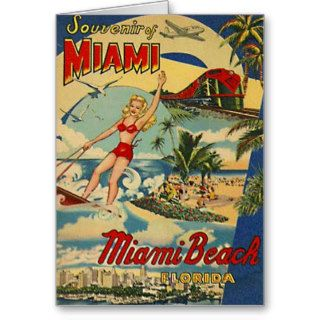 Vintage Miami Beach, Florida, USA   Greeting Cards