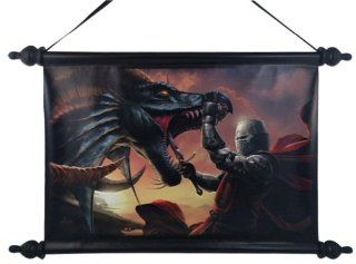 """Dragon Slayer"" Art Scroll By Tom Wood Fantasy Art  18""x12""   Decorative Plaques"