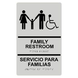 ADA Family Restroom Bilingual Braille Sign RRB 170 BLKonPRLGY  Business And Store Signs