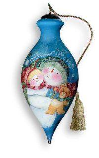 Ne'Qwa Art Snow Hugs   Glass Ornament Hand Painted Reverse Painting Distinctive 179 NEQ   Oil Paintings