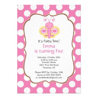 Cute Butterfly Birthday Party Invitation
