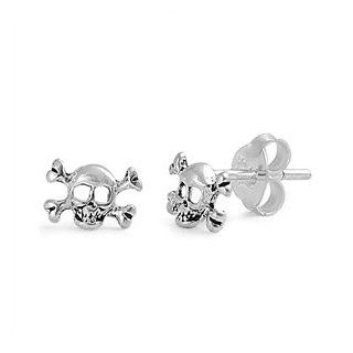 Pirate Skull and Crossbones Mini Silver Stud Earrings: Jewelry