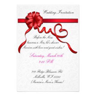 Red ribbon classic wedding invitation card A031