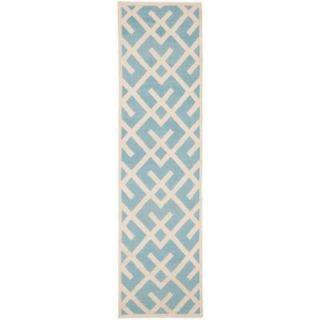 Safavieh Dhurries Light Blue/Ivory 2 ft. 6 in. x 12 ft. Runner DHU552B 212