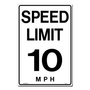 Lynch Sign 12 in. x 18 in. Black on White Plastic Speed Limit 10 M.P.H. Sign A  6 10