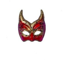Scary Masks Venetian Mask Red Gold Points Halloween Costume   Most Adults Clothing