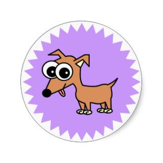 Cute Chihuahua Cartoon Round Sticker