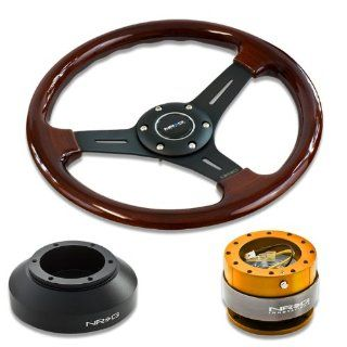 """NRG Innovations 13"""" 330mm Deep Dish Style Wood Grain Black Spokes Racing Steering Wheel Combo with 6 Hole Short Hub Adapter with Gen 2.0 Rose Gold Quick Release Kit SRK 150H Automotive"""