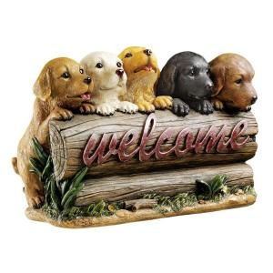 Design Toscano 14 1/2 in. Puppy Parade Welcome Sign DISCONTINUED JE112127