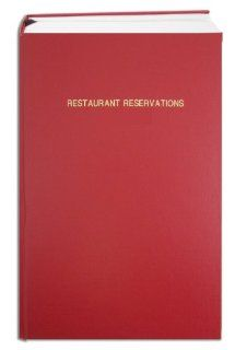 """BookFactory� Restaurant Reservations Book / 365 Day Restaurant Reservations Log Book, Page Size 8 7/8"""" x 13 1/2"""", Red Imitation Leather Cover, Smyth Sewn Hardbound (LOG 408 OCS A (RESTAURANT) )  Record Books"""