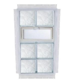 TAFCO WINDOWS NailUp 24 in. x 40 in. x 3 3/4 in. Ice Pattern Vented Glass Block New Construction Window with Vinyl Frame V2440DIA