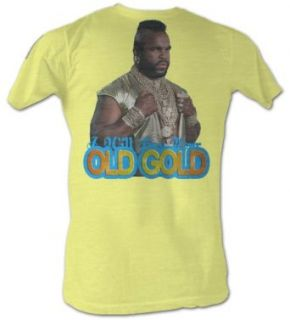 Mr. T T Shirt   Old Gold A Team Adult Bright Yellow Tee Shirt Clothing