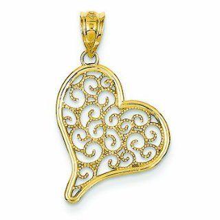 14K Gold Filigree Heart Pendant: Jewelry