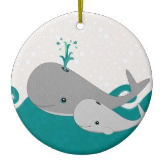 Cute Grey Baby Whale on the Waves Cartoon Christmas Tree Ornaments