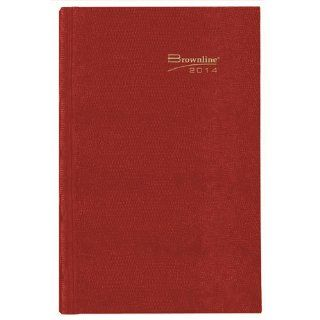 Brownline 2014 Daily Journal, Untimed, Hard Cover, Bright Red, 7.5 x 5 Inches (CB387.RED 14) : Appointment Books And Planners : Office Products