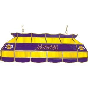 Trademark Global NBA Los Angeles Lakers NBA 3 Light Stained Glass Hanging Tiffany Lamp NBA4000 LAL