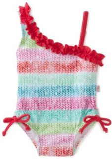 Floatimini Baby Girls Infant Rainbow One Shoulder Swimwear, Multicolored, 6 12 Months: Infant And Toddler One Piece Swimsuits: Clothing