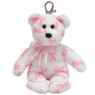 TY Beanie Baby   GIVING the Pink Bear ( Metal Key Clip   Breast Cancer Awareness Bear ) Toys & Games
