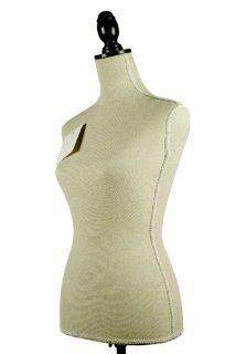 Natural Mannequin Dress Form on Black Wooden Tripod Stand, Height Adjustable