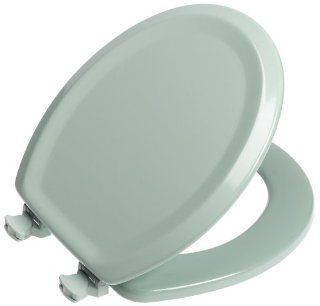 Mayfair 25EC 455 Designer Series Traditional Wood Toilet Seat with Easy Clean Hinges, Round, Seafoam
