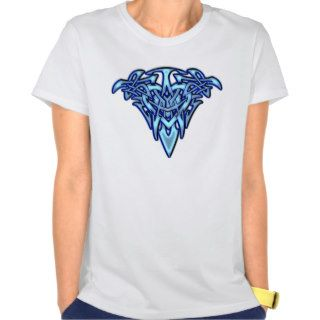 Tribal/Celtic Tattoo like Glowing Blue Heart Tee Shirt