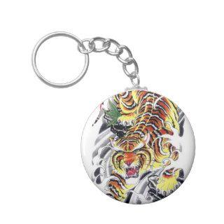 Japanese Tiger Tattoo Design Keychain