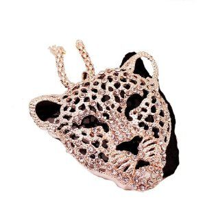 18k W Gold Plated Leopard Face Cheetah Pendant Necklace with Black Enamel and Clear Swarovski Crystals Jewelry