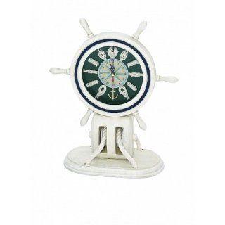 "Wooden Whitewash Ship Wheel Mantel Knot Clock 13""   Wood Ship Wheel   Decorative Clock   Nautical Clock   Marine Clock   Wooden Ship Wheel   Childrens Room Decor"