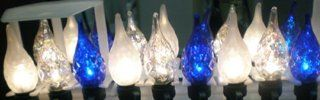 Set of 35 Clear Blue & Frosted Faceted C6 Christmas Lights #ES62 472   String Lights