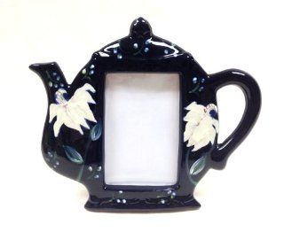 """Tuscan Magnolia Cobalt Blue Garden Collection Hand Painted Picture Photo Frame 3 x 4 1/2""""H, 82630 By ACK Cruets Kitchen & Dining"""