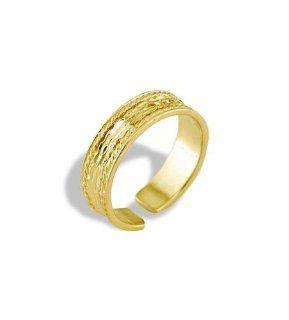 14k Yellow Gold Diamond Cut Band Polished Toe Ring: Jewelry