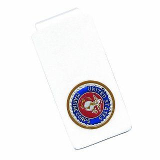 Sterling Silver U.S. Marine Corp Money Clip w/ gold border Jewelry