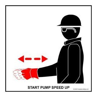 Start Pump Speed Up Label CRANE 486 Crane Hand Signals : Business And Store Signs : Office Products