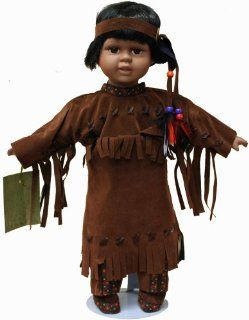 Native American Porcelain Doll 16 Inches with Traditional Faux Brown Leather Dress with Beading and Headdress Toys & Games