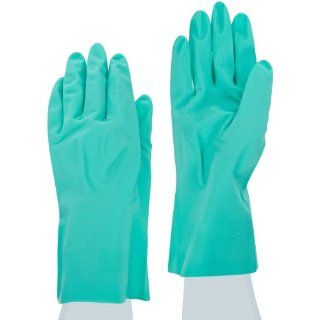 """MAPA Stansolv A 487 Nitrile Lightweight Glove, Chemical Resistant, 0.012"""" Thickness, 12 1/2"""" Length, Size 8, Green (Bag of 12 Pairs) Industrial & Scientific"""
