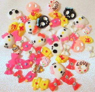 50pc Assorted Mini Size Bows, X, Cats, Kitty, Bee, Sundae, Cupcake, Teddy Bear, Floral, Donuts, Skulls, Candy & More Flat Back Resin Cabochons Nail ART Decal Decorations