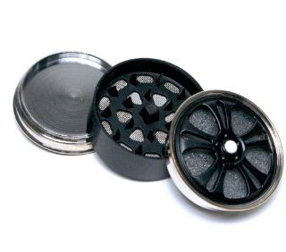 2'' Metal Tobacco Herb Spice Alloy Spinning wheel Magnetic Grinder 3Pc   Black color  Spice Mills