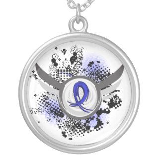 Blue Ribbon With Wings Huntington's Disease Necklace