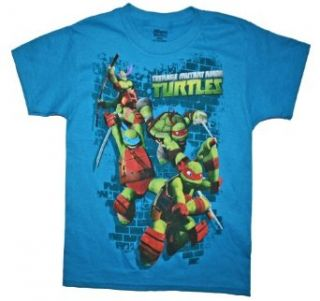 Teenage Mutant Ninja Turtles Boys T Shirt (10/12, Turquoise) Clothing
