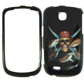 Samsung Dart T499 T Mobile   Pirate Skull Swords and Fish on Black Hard Case, Cover, Snap On, Faceplate: Cell Phones & Accessories