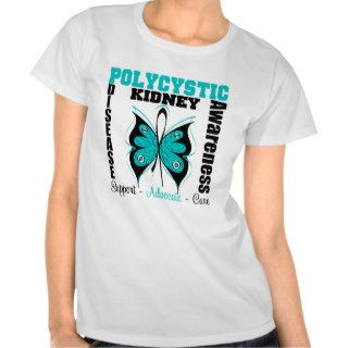 Polycystic Kidney Disease Awareness Butterfly Tee Shirt