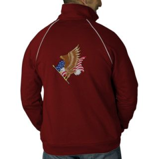 American Flag & Eagle Embroidered Embroidered Track Jacket