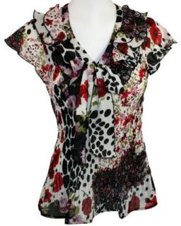 Cathaya, Geometric Floral Printed, Short Sleeve, Ruffled V Neck Collar, White, Purple, Red & Black Colored Polyester Contemporary Woman's Fashion Blouse (X Large) at  Women�s Clothing store: