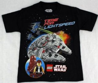 "Star Wars Lego ""Time for Lightspeed"" Black Young Boys Tee Shirt Top Size S L (XL) Fashion T Shirts Clothing"