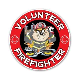 "Taz Cartoon Firefighter Volunteer Looney Tunes Car Sticker Decal 4"": Everything Else"