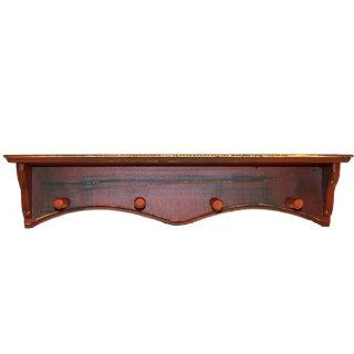 Rustic All Wood 4 Peg Coat Rack Wall Shelf   Cabinet Organizers